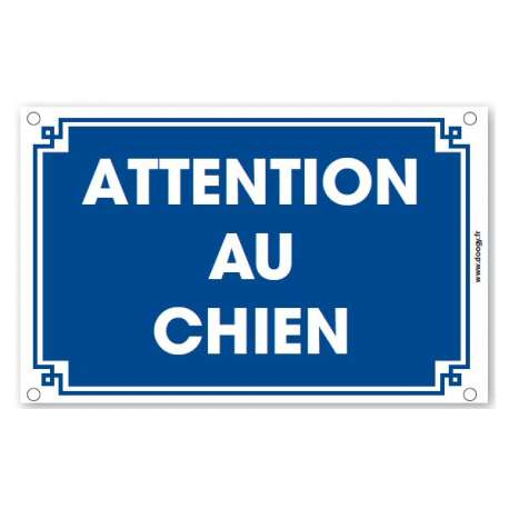 Plaque Attention au chien - Bleue