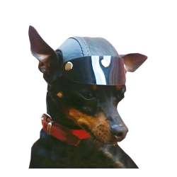 Casque de moto pour chien - Casque noir de marque :
