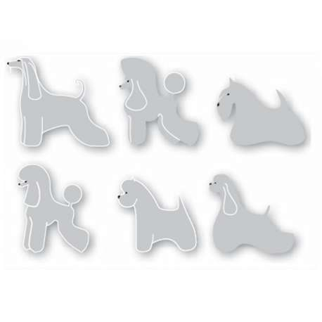 Lot de 6 Autocollants Sticker Chien -10cm-Vitrine-Vitres-1