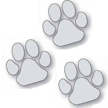 Lot de 3 autocollants patte grise chien -25cm-Vitrine-Vitres-1 de marque :