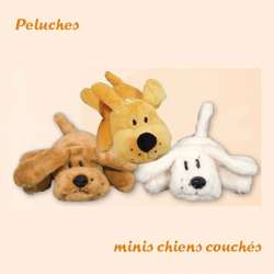 Peluche mini chien couché - Peluche chien