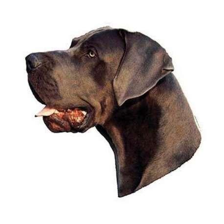Autocollants Dogue Allemand bleu à oreilles tombantes - 7 cm - Lot de 4 de marque :