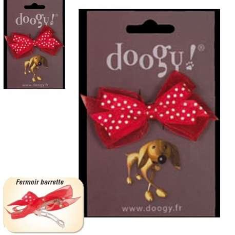 Noeud rouge à pois blancs - Fermoir barette de marque : CANISLANA For dogs