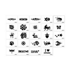 24 Pochoirs de tatouage Opawz de marque : OPAWZ