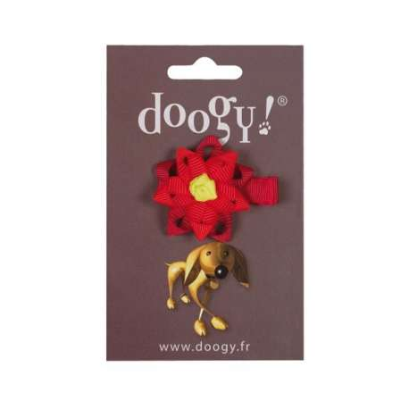 Noeud rouge fleur - Fermoir pince