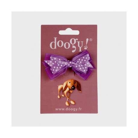 Noeud barrette pois violet de marque :