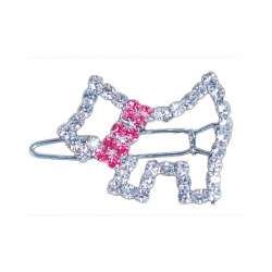 Barrette chiot collier rose