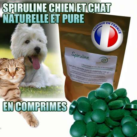 Spiruline pour chien - ou chat naturelle et pure - Comprimés de marque : CANISLANA For dogs