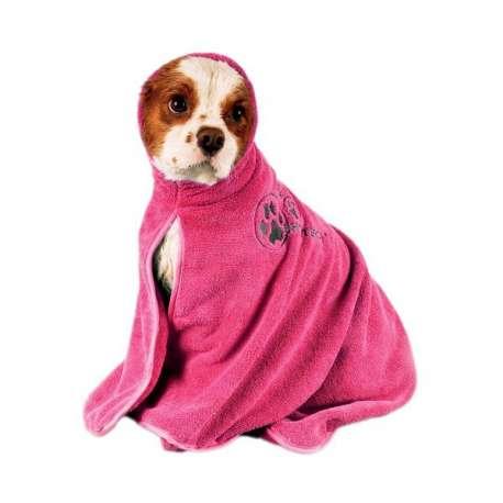 Peignoir rose pour chien - Microfibre de marque :