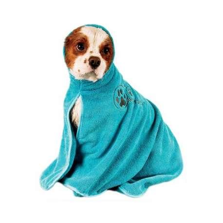 Peignoir bleu pour chien - Microfibre