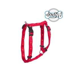 Harnais nylon pattes rouge Doogy Gamme Essentiel Pattes de marque : DOOGY