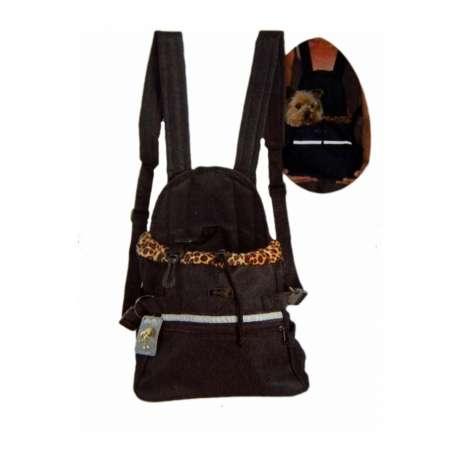 Sac ventral léopard, transport petit chien ou chat de marque : DOOGY