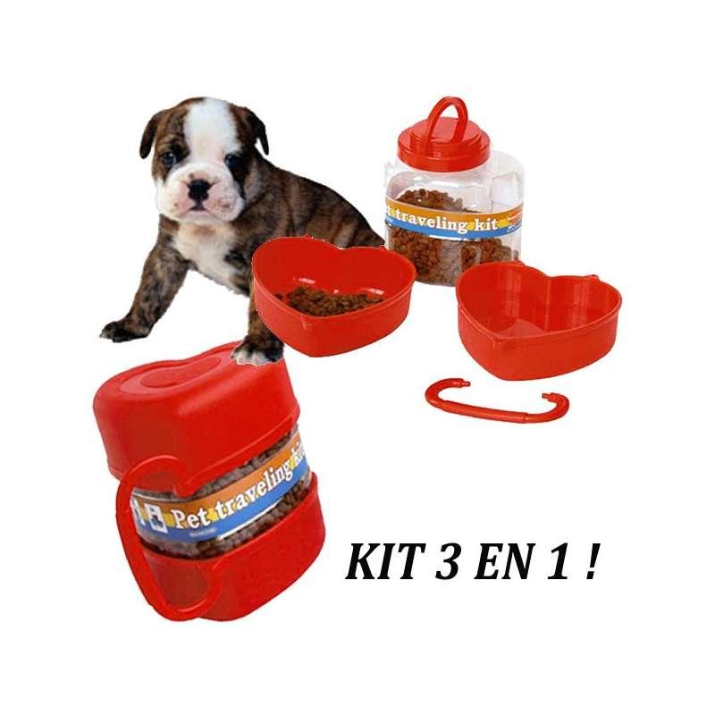 Kit de voyage chien ou chat croquettes et eau canislana - Chat ou chien ...