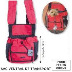 Sac ventral rouge, transport petit chien ou chat