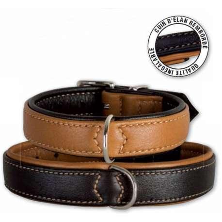 Collier pour chien en cuir - Elan rembordé de marque :