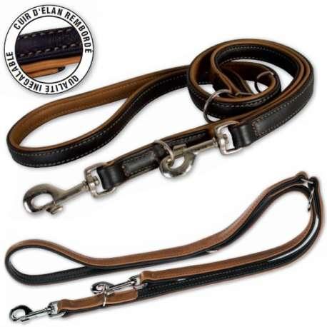 Laisse pour chien en cuir - 3 positions de marque : CANISLANA For dogs